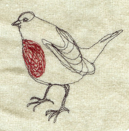 A free machine drawing of a Robin- this is on Tony's christmas stocking
