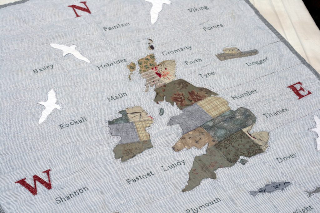 'Good Old Blighty' by Janet Clare, otherwise know as 'The Shipping Forecast' quilt.